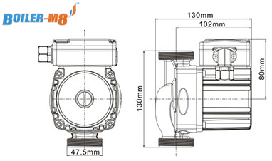 Boiler-m8 RS25-6 130 A Rated Technical Drawing